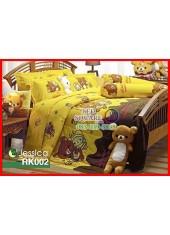 ผ้าปูที่นอนผ้านวม กันไรฝุ่น กันภูมิแพ้ ลายริลัคคุมะ Rilakkuma RK002 พื้นสีเหลือง Jessica