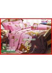 ผ้าปูที่นอนผ้านวม กันไรฝุ่น กันภูมิแพ้ ลายริลัคคุมะ Rilakkuma RK003 พื้นสีชมพู Jessica