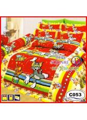 ผ้าปูที่นอนซาติน ผ้านวม ลายทอมกับเจอร์รี่ Tom and Jerry C053 ชุดเครื่องนอน SATIN