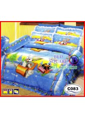 ผ้าปูที่นอนซาติน ผ้านวม ลาย Bugs Bunney และ Daffy C083 ชุดเครื่องนอน Looney Tunes