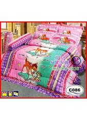 ผ้าปูที่นอนซาติน ผ้านวม ลายกวางน้อย Bambi C086 ชุดเครื่องนอน