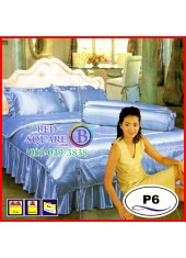 ผ้าปูที่นอนซาติน ผ้านวม แพรมัน แพรไหม สีฟ้าอ่อน ชุดเครื่องนอน P6 SATIN Silk Touch