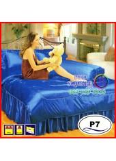 ผ้าปูที่นอนซาติน ผ้านวม แพรมัน แพรไหม สีน้ำเงิน ชุดเครื่องนอน P7 SATIN Silk Touch