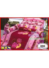 ผ้าปูที่นอนซาติน ผ้านวม ลายดอกกุหลาบ โทนสีชมพูแดง ชุดเครื่องนอน SATIN690