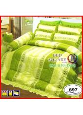 ผ้าปูที่นอนซาติน ผ้านวม ลายกราฟฟิก โทนสีเขียว ชุดเครื่องนอน SATIN697
