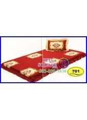 ที่นอน 3 ตอน ที่นอนปิคนิค ซาติน ลายดอกพื้นแดง SATIN701 ชุดเครื่องนอน SATIN