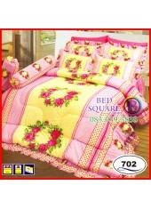 ผ้าปูที่นอนซาติน ผ้านวม ลายช่อดอกไม้ โทนสีเหลืองชมพู ชุดเครื่องนอน SATIN702