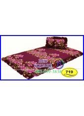 ที่นอน 3 ตอน ที่นอนปิคนิค ซาติน ลายดอก โทนแดงม่วง SATIN719 ชุดเครื่องนอน SATIN