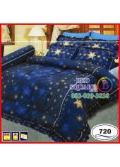 ผ้าปูที่นอนซาติน ผ้านวม ลายกราฟฟิก โทนสีน้ำเงิน ชุดเครื่องนอน SATIN720