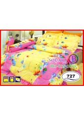 ผ้าปูที่นอนซาติน ผ้านวม ลายช่อดอกไม้ โทนสีเหลืองชมพู ชุดเครื่องนอน SATIN727
