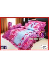 ผ้าปูที่นอนซาติน ผ้านวม ลายช่อดอกไม้ โทนสีชมพูฟ้า ชุดเครื่องนอน SATIN732