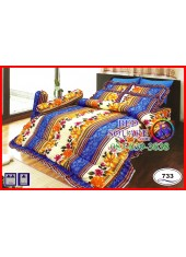 ผ้าปูที่นอนซาติน ผ้านวม ลายช่อดอกไม้ โทนสีเหลืองฟ้า ชุดเครื่องนอน SATIN733