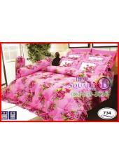 ผ้าปูที่นอนซาติน ผ้านวม ลายช่อดอกไม้ โทนสีชมพู ชุดเครื่องนอน SATIN734