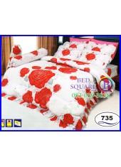 ผ้าปูที่นอนซาติน ผ้านวม ลายดอกกุหลาบ พื้นสีขาว ชุดเครื่องนอน SATIN735