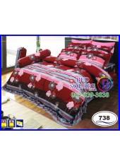ผ้าปูที่นอนซาติน ผ้านวม ลายดอก โทนสีแดงเทา ชุดเครื่องนอน SATIN738