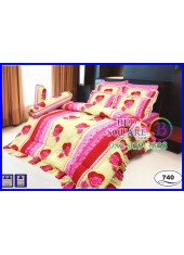 ผ้าปูที่นอนซาติน ผ้านวม ลายดอกกุหลาบ โทนสีเหลือง ชมพู ชุดเครื่องนอน SATIN740