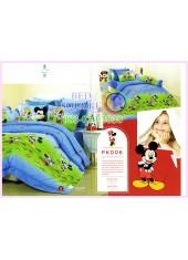 ชุดผ้าปูที่นอน ผ้าปูที่นอนผ้านวมลายมิกกี้เมาส์ Mickey Minnie SATIN PK006