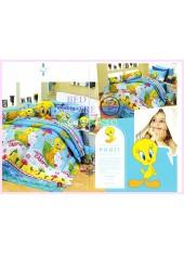 ชุดผ้าปูที่นอน ผ้าปูที่นอนผ้านวมลาย Looney Tunes Tweety SATIN PK011