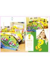 ชุดผ้าปูที่นอน ผ้าปูที่นอนผ้านวมลาย Looney Tunes Tweety SATIN PK015