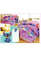 ชุดผ้าปูที่นอน ผ้าปูที่นอนผ้านวมลาย Lilo & Stitch SATIN PK016