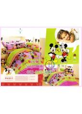 ชุดผ้าปูที่นอน ผ้าปูที่นอนผ้านวมลายมิกกี้เมาส์ Mickey Minnie SATIN PK017