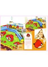 ชุดผ้าปูที่นอน ผ้าปูที่นอนผ้านวมลาย แองกี้เบิร์ด Angry Bird SATIN PK019
