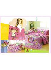 ชุดผ้าปูที่นอน ผ้าปูที่นอนผ้านวมลายการ์ตูนเด็กผู้หญิง SATIN PK022