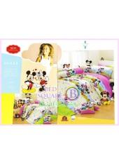 ชุดผ้าปูที่นอน ผ้าปูที่นอนผ้านวมลายมิกกี้เมาส์ Mickey Minnie SATIN PK032