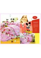 ชุดผ้าปูที่นอน ผ้าปูที่นอนผ้านวมลายมิกกี้เมาส์ Mickey Minnie SATIN PK037