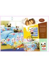 ชุดผ้าปูที่นอน ผ้าปูที่นอนผ้านวมลายการ์ตูนแมวน่ารัก SATIN PK039