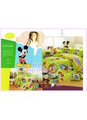 ชุดผ้าปูที่นอน ผ้าปูที่นอนผ้านวมลายมิกกี้เมาส์ Mickey Minnie SATIN PK040