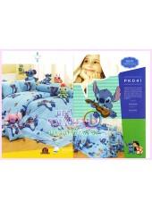 ชุดผ้าปูที่นอน ผ้าปูที่นอนผ้านวมลาย Lilo & Stitch SATIN PK041