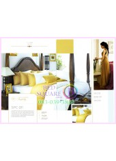 ผ้าปูที่นอน ผ้านวม พรีเมียร์ซาติน Satin Royal Touch Cotton 100% PREMIER SATIN SPC011 สีพื้น สีขาวทอง
