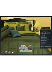 ชุดเครื่องนอนสีพื้น สีเขียวขี้ม้าเข้ม SPC021 Premier Satin ผ้าปูที่นอน ผ้านวม Cotton 100%พรีเมียร์ ซาติน