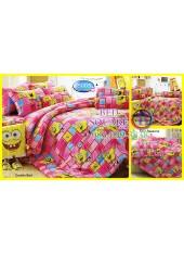 ผ้าปูที่นอนทิวลิป ผ้านวม ลายสปอนจ์บ๊อบ SpongeBob S003 ชุดเครื่องนอน Tulip